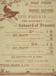 Advert for Titus Ward & Co, tea